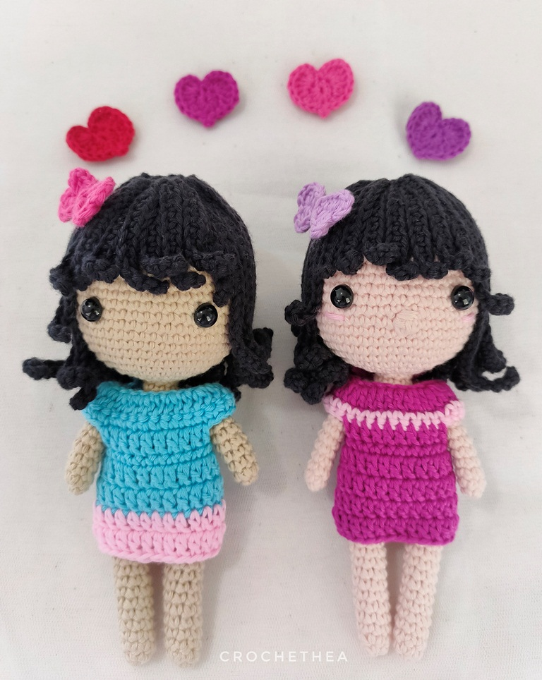 Maya and Nola the little girl amigurumi