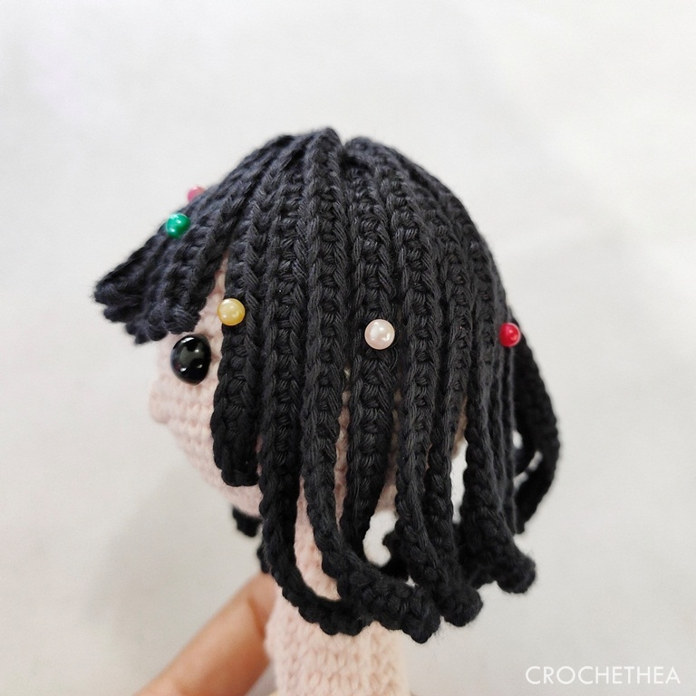 Nola the little girl amigurumi attach hair